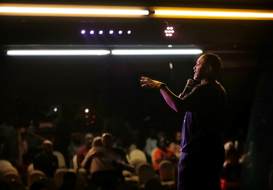 <strong>Event organizer Earle Fisher lays down the groundwork for candidate forums during the People's Convention on June 8, 2019, at the Paradise Entertainment Center as politicians, activists and engaged voters gather to select a slate of candidates in the local October elections.</strong> (Jim Weber/Daily Memphian)