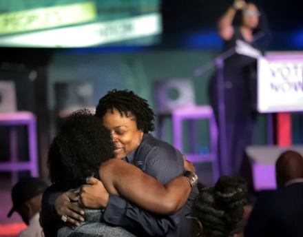 <strong>Rev. Sharon Moore (right) embraces fellow clergy Rev. Cetrea Jimersom as politicians stump during the People's Convention on June 8, 2019, at the Paradise Entertainment Center.</strong> (Jim Weber/Daily Memphian)