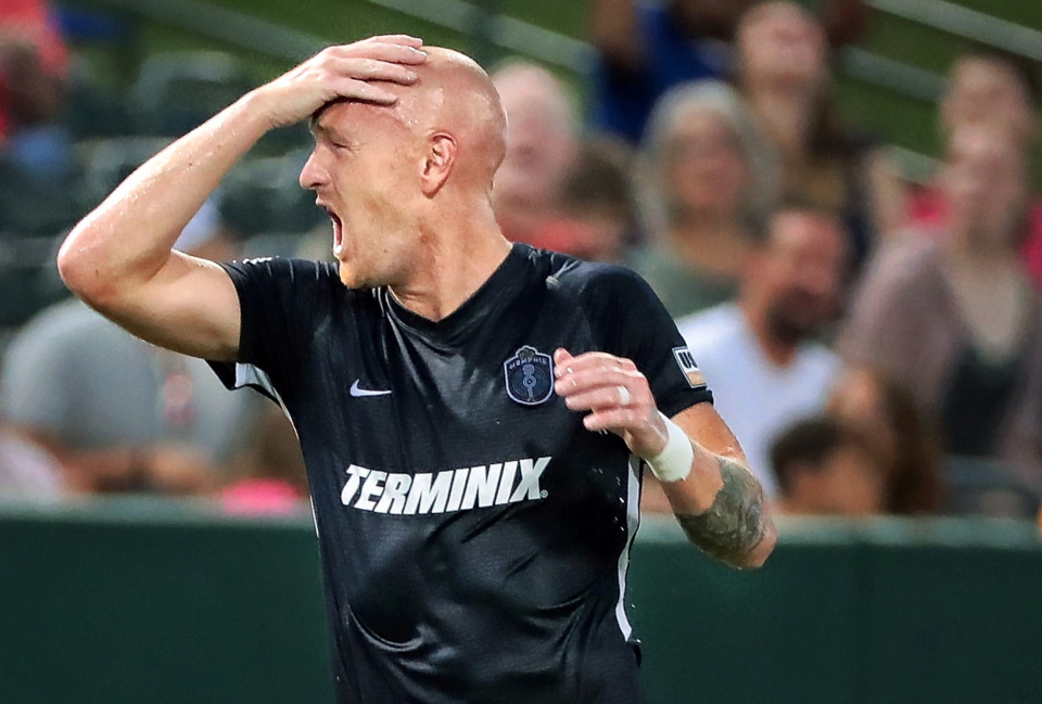 <strong>Memphis forward Jochen Graf reacts after missing a goal attempt during Memphis 901 FC's 3-0 loss to Indianapolis at AutoZone Park on June 8, 2019.</strong> (Jim Weber/Daily Memphian)
