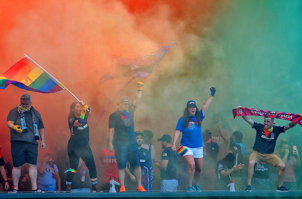 <strong>Memphis fans give their team a colorful welcome onto the field before Memphis 901 FC's game against Indianapolis at Autozone Park on June 8, 2019.</strong> (Jim Weber/Daily Memphian)