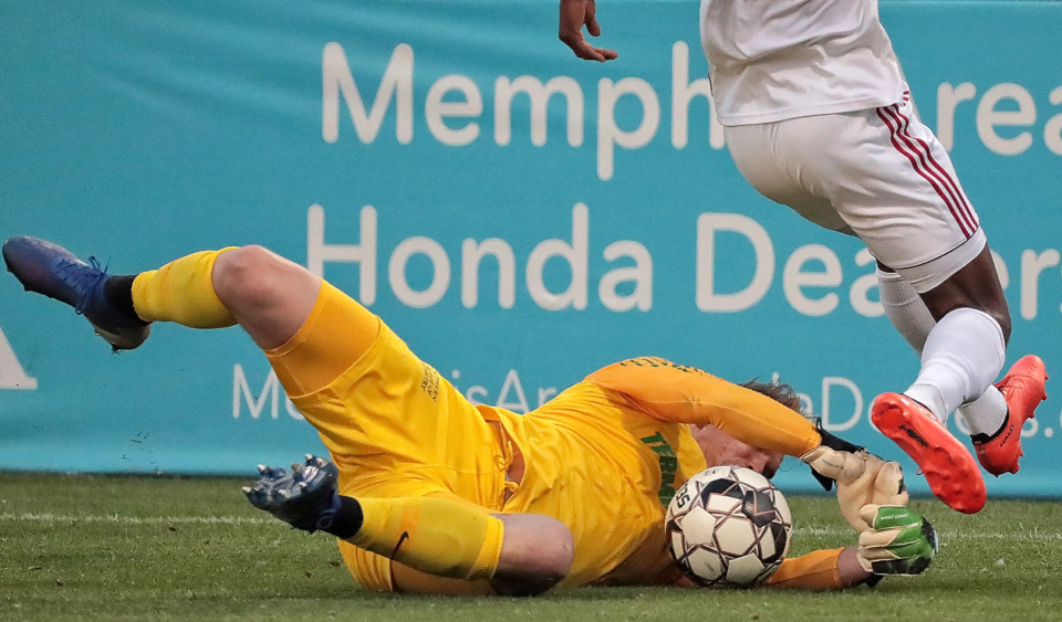 <strong>Memphis goalkeeper Jeff Caldwell collides with Indy Eleven defender Dane Kelly (17) during 901 FC's 3-0 loss to Indianapolis at AutoZone Park on June 8, 2019.</strong> (Jim Weber/Daily Memphian)