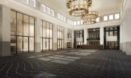 "<p class=""p1""><span class=""s1""><b>Rendering of The Central Station Hotel ballroom.</b> (Looney &amp; Associates)</span>"