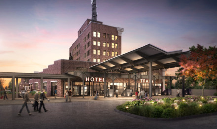 "<p class=""p1""><span class=""s1""><b>Rendering of The Central Station Hotel exterior.</b> (LRK)</span>"
