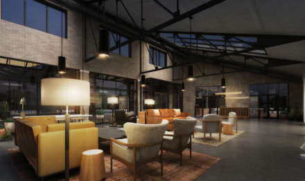 "<p class=""p1""><span class=""s1""><b>Rendering of The Central Station Hotel lobby.</b> (Looney &amp; Associates)</span>"