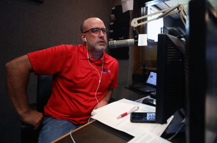 <strong>Eli Savoie co-hosts a daily sports talk radio show with Greg Gaston that airs on Sports 56 radio.</strong> (Patrick Lantrip/Daily Memphian.)
