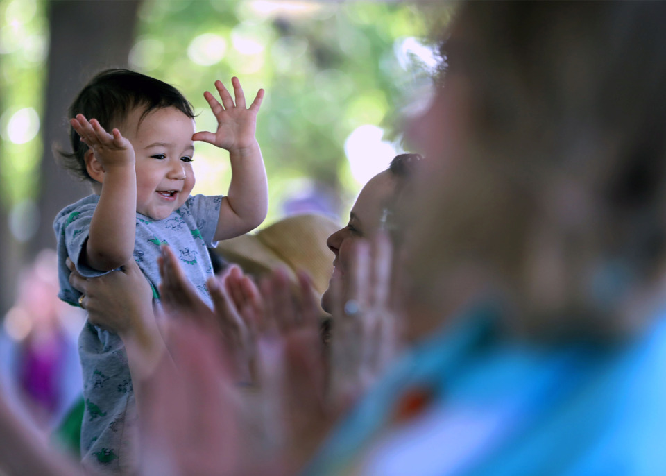 <strong>Felipe Daza Sigler claps along with the rest of the crowd in attendance for the grand opening of the Memphis Child Advocacy Center&rsquo;s expanded and enhanced campus Monday, June 10, 2019.</strong> (Patrick Lantrip/Daily Memphian)