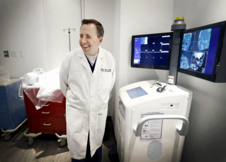 <strong>Dr. Phillip Zeni Jr. smiles as X-ray images appear on a new monitor inside the new Zenith Health and Aesthetics location in East Memphis on Tuesday, June 11, 2019.</strong> (Mark Weber/Daily Memphian)