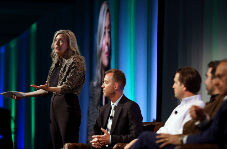 <strong>Indigo Ag board member Ann Simonds leads a panel discussion during the 2019&nbsp;<span>Beneficial Agriculture</span> conference at the Peabody Hotel on Wednesday, June 12, 2019.</strong> (Patrick Lantrip/Daily Memphian)
