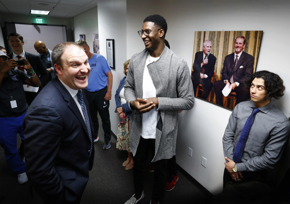 <strong>New Memphis Grizzlies head coach Taylor Jenkins (left) jokes with player Jaren Jackson Jr. (center) after a press conference announcing Jenkins to the position at FedExForum Wednesday, June 12, 2019.</strong> (Mark Weber/Daily Memphian)