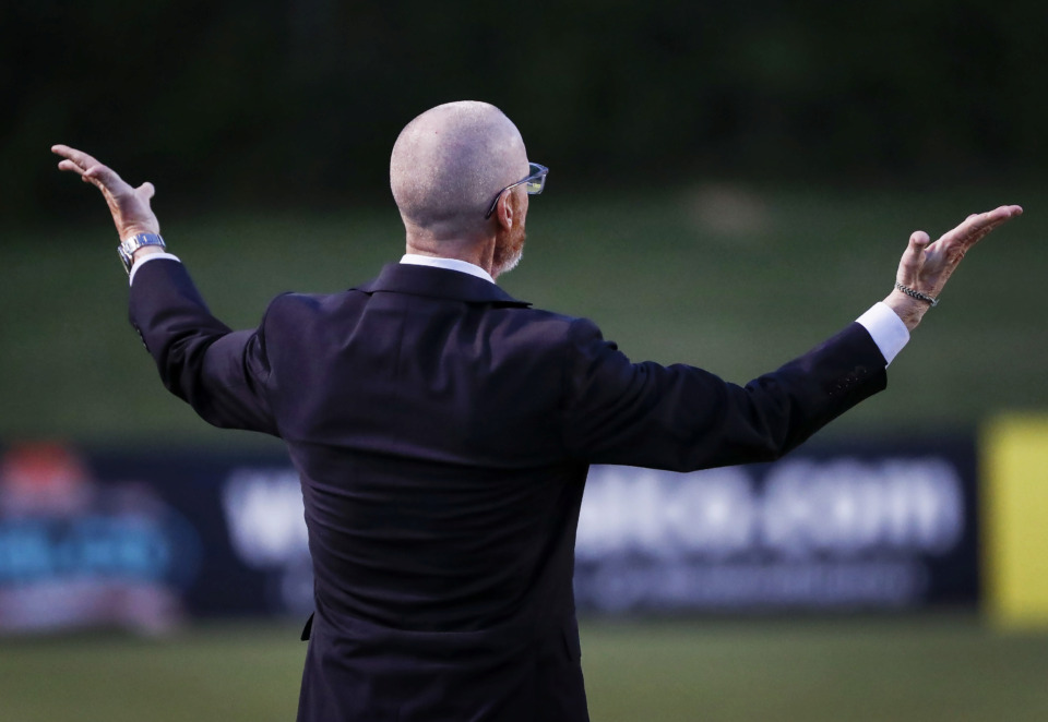 <strong>Memphis 901 FC head coach Tim Mulqueen yells at his team during action against Orlando City SC in their fourth-round Lamar Hunt U.S. Open Cup game at the Mike Rose Soccer Complex Wednesday, June 12, 2019. Orlando took the win and advances to the Round of 16.</strong>&nbsp;(Mark Weber/Daily Memphian)