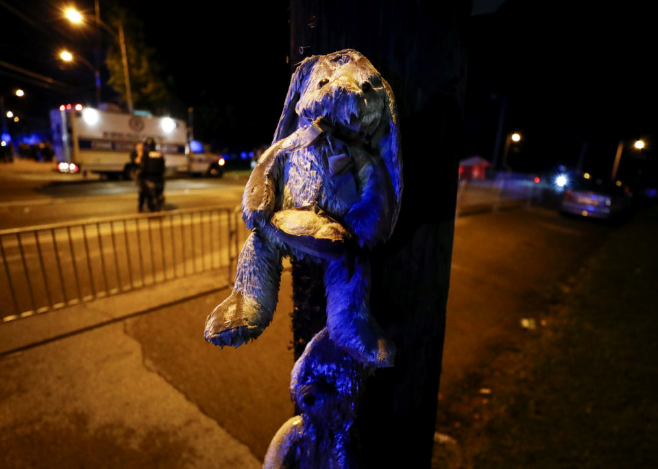 "<p class=""p1""><span class=""s1""><strong>A soaked teddy bear hangs from a telephone pole near the site of protesting in Frayser over the shooting of a youth by U.S. Marshals earlier Wednesday. Dozens of protesters clashed with law enforcement, throwing stones and tree limbs until police broke up the angry crowd with tear gas. </strong>(Mark Weber/Daily Memphian)</span>"