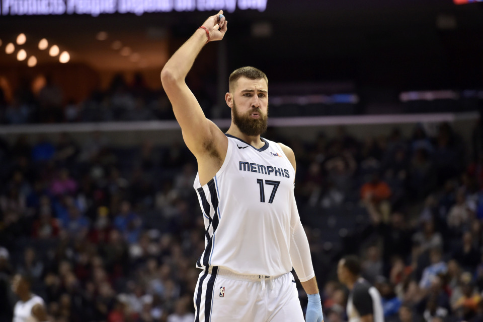 <span><strong>Memphis Grizzlies center Jonas Valanciunas (17) reacts in the second half of an NBA basketball game against the Oklahoma City Thunder Monday, March 25, 2019, in Memphis, Tenn.</strong> (AP Photo/Brandon Dill)</span>