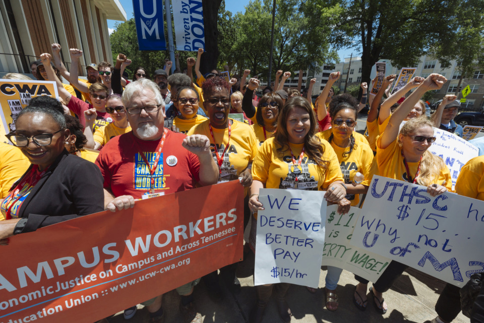 <strong>University of Memphis workers, union members, students and alumni rally for a $15 minimum wage during a protest on campus Thursday, June 13, 2019. More than 300 U of M employees make less than $15 an hour.&nbsp;</strong>(Ziggy Mack/Special to The Daily Memphian)