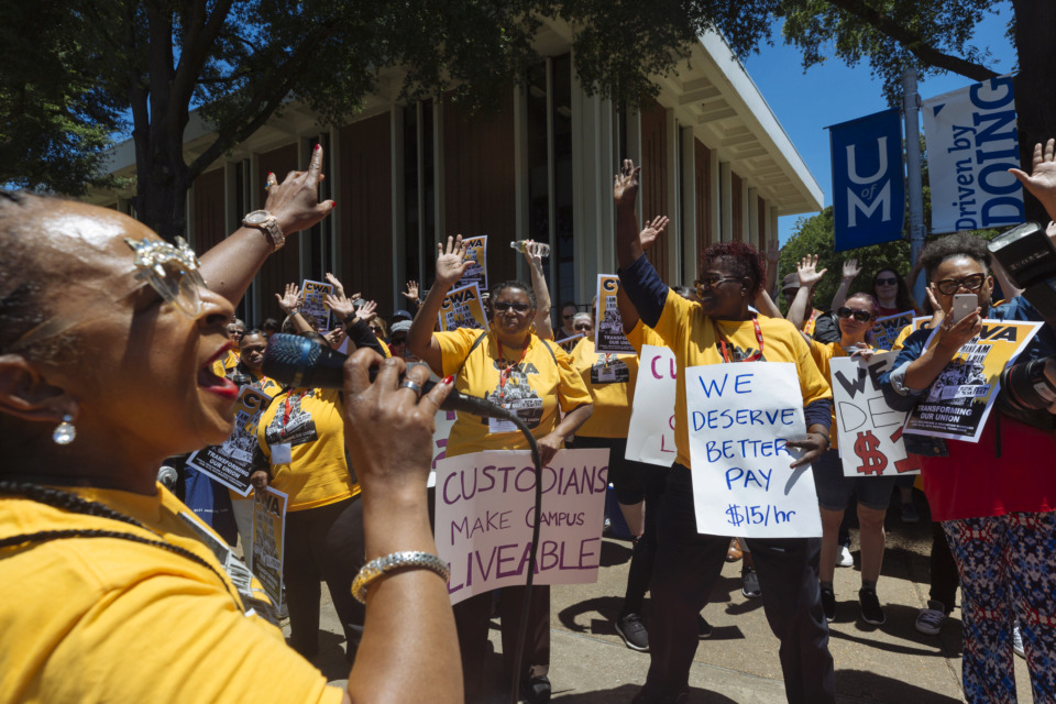 <strong>Lynn Marie Smith rallies University of Memphis workers, union members, students and alumni at a living wage rally on campus Thursday, June 13, 2019. U of M leaders say the university's benefits package puts compensation for hourly workers at more than $16 an hour.&nbsp;</strong>(Ziggy Mack/Special to The Daily Memphian)