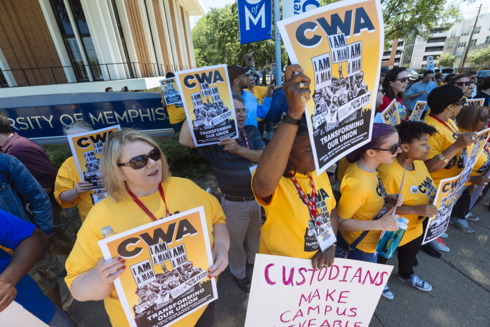 <strong>Union members call for the University of Memphis to pay a $15 minimum wage at an on-campus rally Thursday, June 13, 2019. The U of M faculty senate and staff senate both passed resolutions in 2018 encouraging the university to raise its minimum wage to $15 an hour.&nbsp;</strong>(Ziggy Mack/Special to The Daily Memphian)