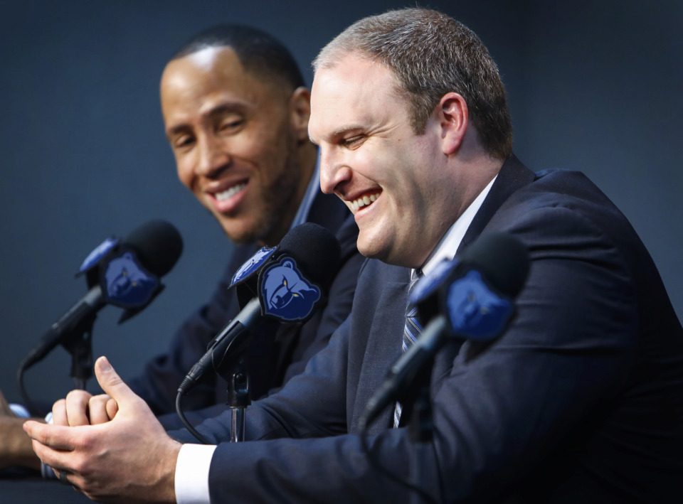 """<strong>&ldquo;It's our daily work habits that are going to carry us through our journey,"""" said new Memphis Grizzlies head coach Taylor Jenkins, right, at FedExForum Wednesday, June 12, 2019, with VP of basketball affairs Tayshaun Prince. """"I can't wait to roll my sleeves up and get after it with our guys.""""&nbsp;</strong><span>(Mark Weber/Daily Memphian)</span>"""