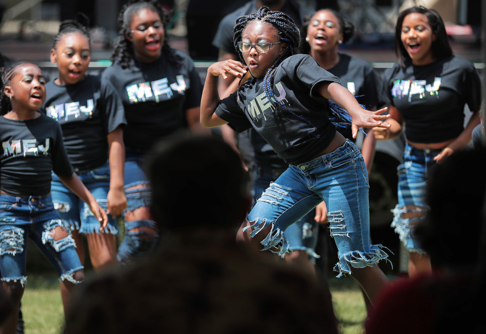 <strong>Dancers with the Memphis Explosive Jagettes compete in the Ultimate Dance Showdown during the annual Juneteenth celebration at Robert R. Church Park on June 15, 2019. Memphis City Council contenders made stops at Juneteenth gatherings around the city Saturday to connect with potential voters.&nbsp;</strong>(Jim Weber/Daily Memphian)