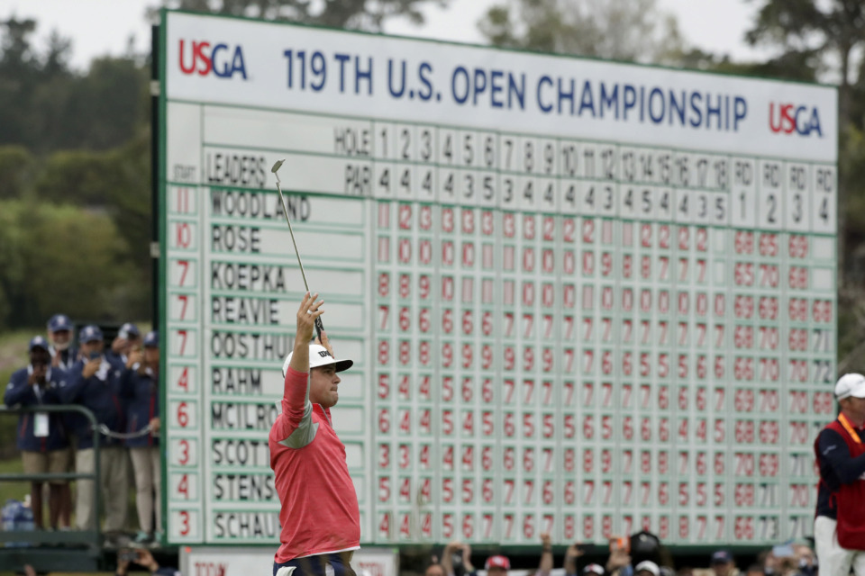 <span><strong>Gary Woodland celebrates after winning the U.S. Open Championship golf tournament Sunday, June 16, in Pebble Beach, Calif.</strong> (Matt York/Associated Press)</span>