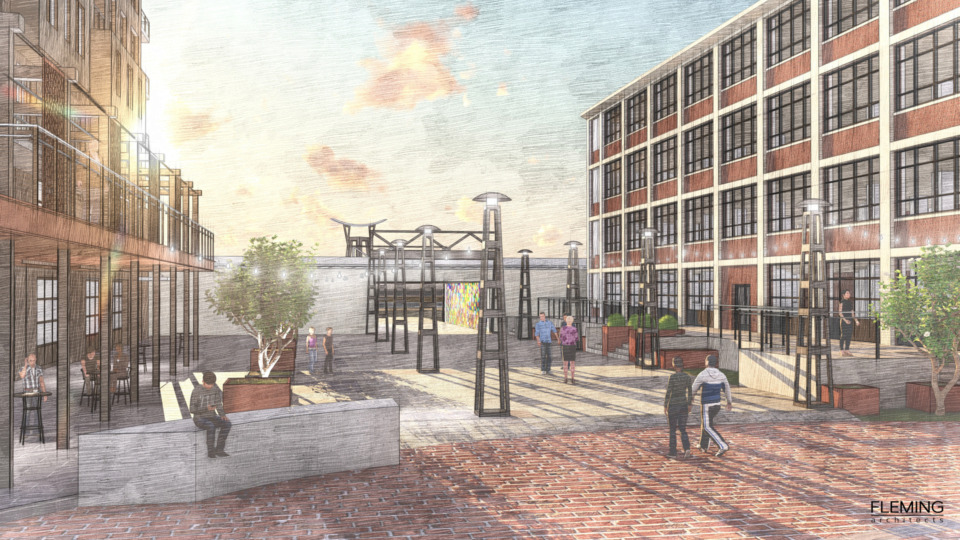 <strong>The Snuff District's pedestrian plaza.&nbsp;Newly released architectural renderings have revealed what the Snuff District mixed-use development will look like in Uptown next to the Wolf River Harbor.</strong> (Courtesy/Fleming Architects)