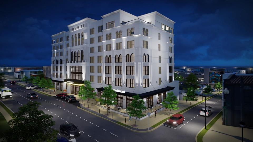 <strong>A building permit application was filed on Monday for the construction of the Memphian Hotel at&nbsp;21 S. Cooper.&nbsp;The hotel will feature 107 rooms, rooftop bar and dining, a ground-floor restaurant on the northeast corner at Trimble, and a fitness room on the southeast corner nearest Hattiloo Theatre.</strong> (Rendering courtesy of Renaissance Group)