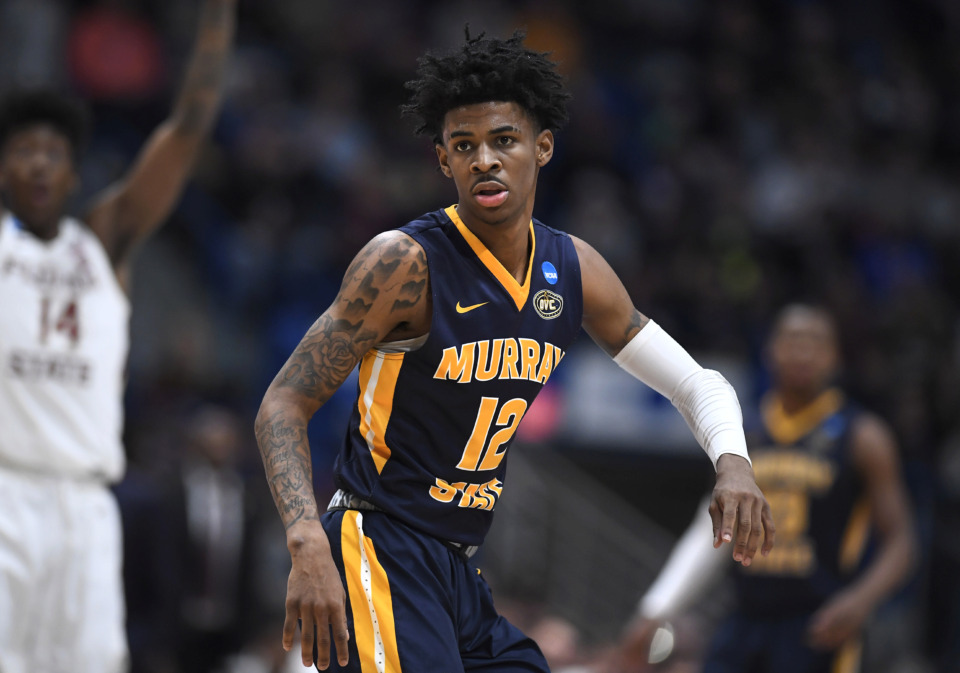 <span><strong>Murray State's Ja Morant (12) during the second half of a second round men's college basketball game in the NCAA tournament, Saturday, March 23, 2019, in Hartford, Conn.</strong> (AP Photo/Jessica Hill)</span>