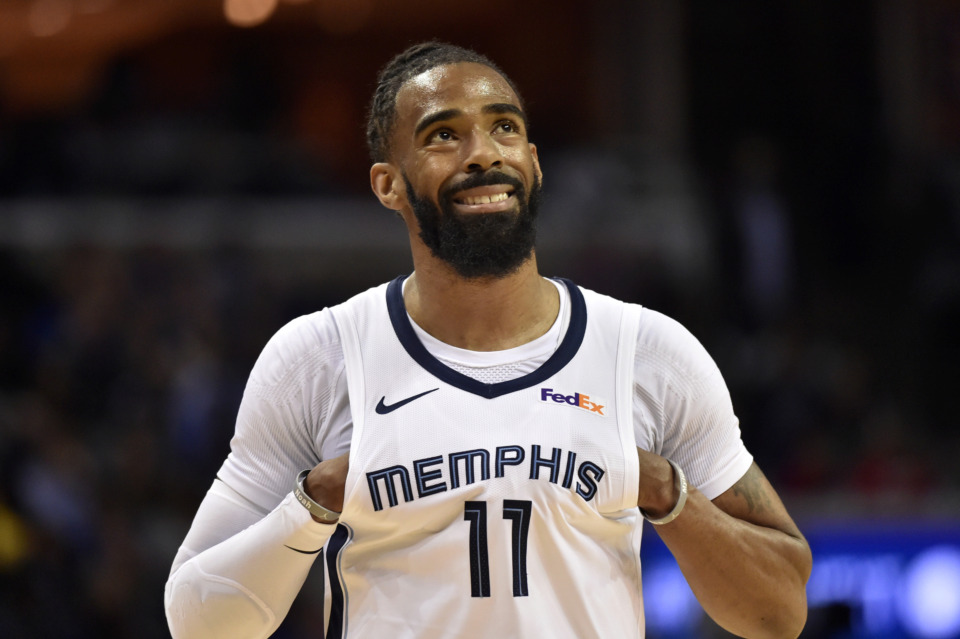 <strong><span>Memphis Grizzlies guard Mike Conley (11) stands on the court in the first half of an NBA basketball game against the Golden State Warriors Wednesday, March 27, 2019. The&nbsp;</span>Grizzlies have traded&nbsp; Conley to the Utah Jazz, five months after first making him available. </strong>(AP Photo/Brandon Dill)