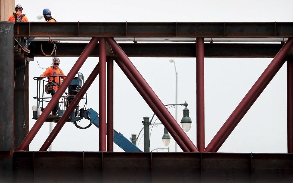 <strong>Construction crews continue to work on the 20-month, nearly $200 million transformation of the Memphis Convention Center as project officials stressed during a press conference held Wednesday, June, 19, 2019, that the renovation is on time and on budget.</strong> (Jim Weber/Daily Memphian)