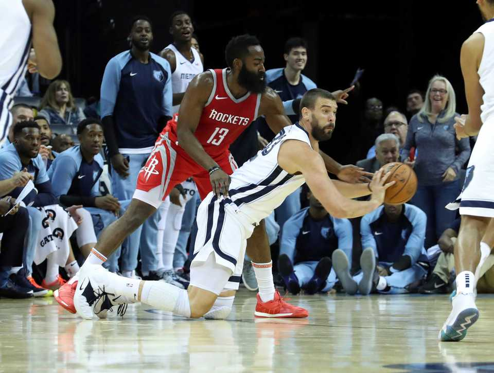 <span><strong>Memphis Grizzlies' Marc Gasol (33) passes the ball while guarded by Houston Rockets' James Harden (13) in the first half of a preseason NBA basketball game Friday, Oct. 12, at FedExForum.</strong> (AP Photo/Karen Pulfer Focht)</span>