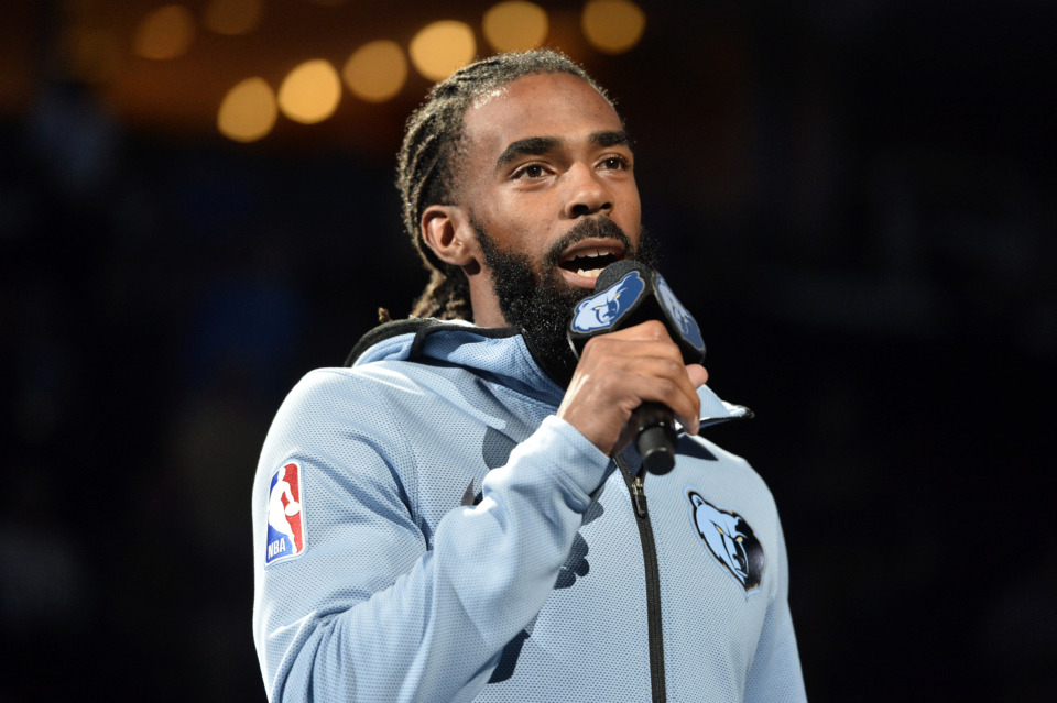 <strong>Memphis Grizzlies guard Mike Conley addresses fans before an NBA basketball game against the Golden State Warriors on April 10 in Memphis.</strong><span>&nbsp;(Brandon Dill/Associated Press file)</span>
