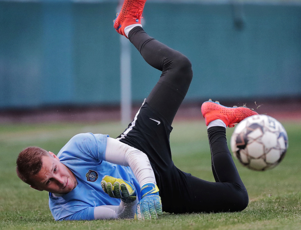 <strong>Memphis 901FC goalkeeper Scott Levene traps a shot as players warm up before a game against Indy Eleven at AutoZone Park on June 8, 2019.</strong> (Jim Weber/Daily Memphian)