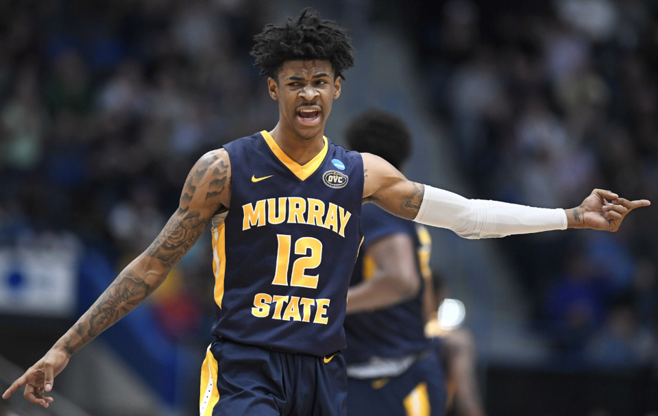 <strong>Murray State's Ja Morant (12) reacts during the first half of a first-round game in the 2019 NCAA tournament.&nbsp;The&nbsp;Grizzlies selected&nbsp; Morant with the second overall pick in the 2019 NBA Draft.</strong> (AP Photo/Jessica Hill)