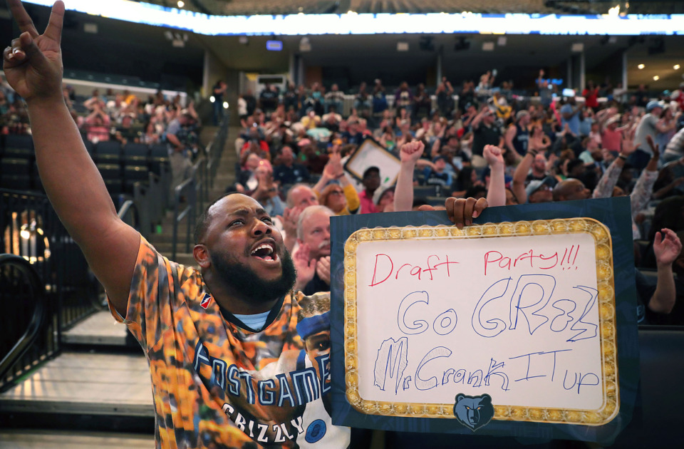 <strong>Mike Rodgers celebrates during a draft party at FedExForum on Thursday, June 20, as the Memphis Grizzlies select Murray State guard Ja Morant with the second overall pick in the 2019 NBA Draft.</strong> (Patrick Lantrip/Daily Memphian)