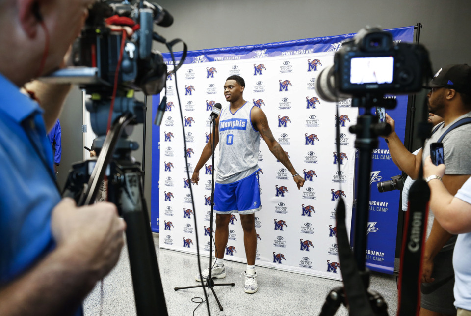 <strong>University of Memphis freshman basketball player DJ Jeffries talks with the media during an introductory press conference at the Laurie-Walton Family Basketball Center on Tuesday, June 18, 2019.</strong> (Mark Weber/Daily Memphian)
