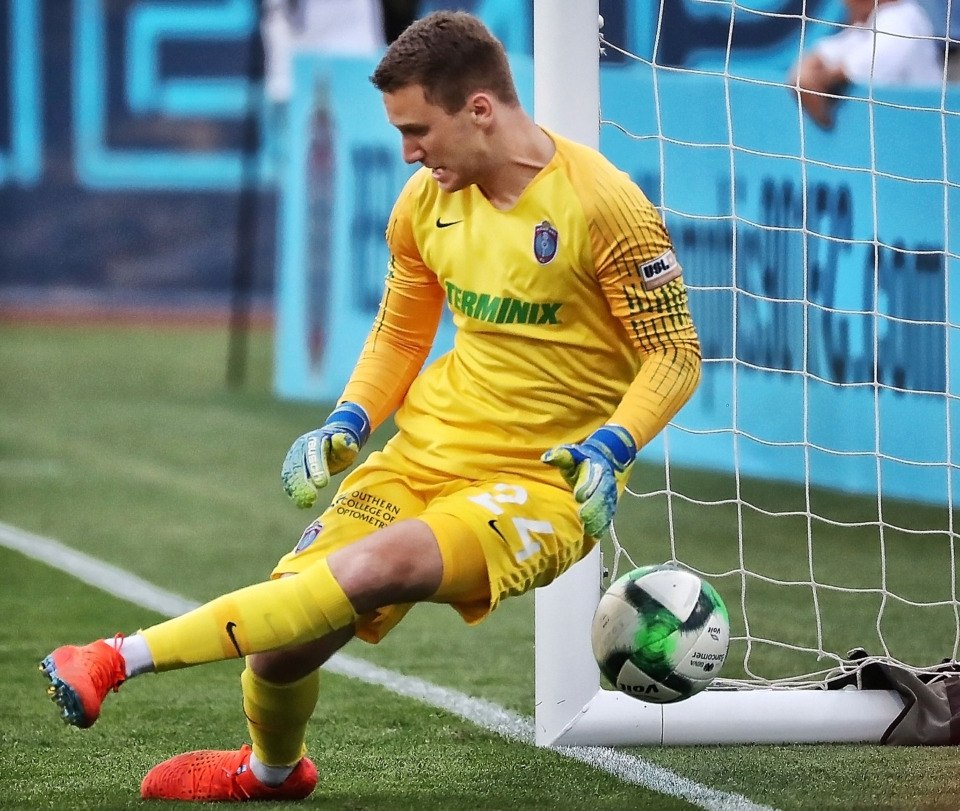 <strong>Memphis goalkeeper Scott Levene misses a shot by the Pachuca offense during 901 FC's 6-1 loss Saturday.</strong> (Jim Weber/Daily Memphian)