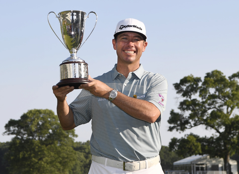 <span><strong>Chez Reavie, winner of the Travelers Championship golf tournament, poses with the trophy, Sunday, June 23, 2019, in Cromwell, Conn.</strong> (AP Photo/Jessica Hill)</span>