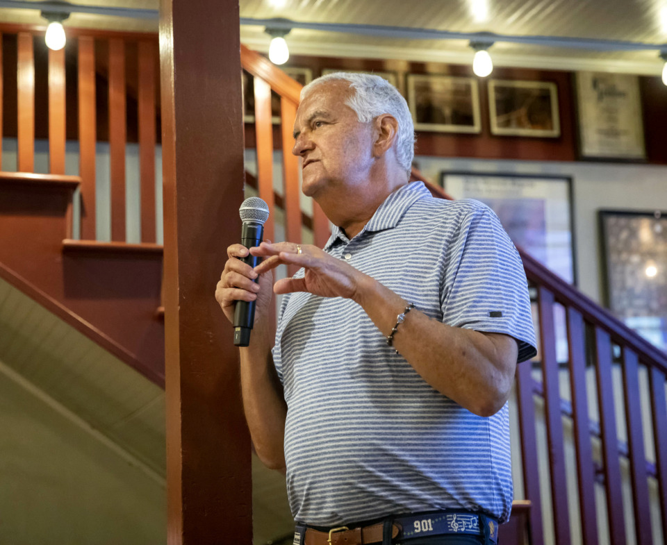 <strong>Nick Vergos talks about when he first learned he'd been diagnosed with cancer to a crowd of Make-A-Wish supporters who gathered June 23, 2019, at Vergos' Rendezvous restaurant.</strong> (Mike Kerr/Special to The Daily Memphian)