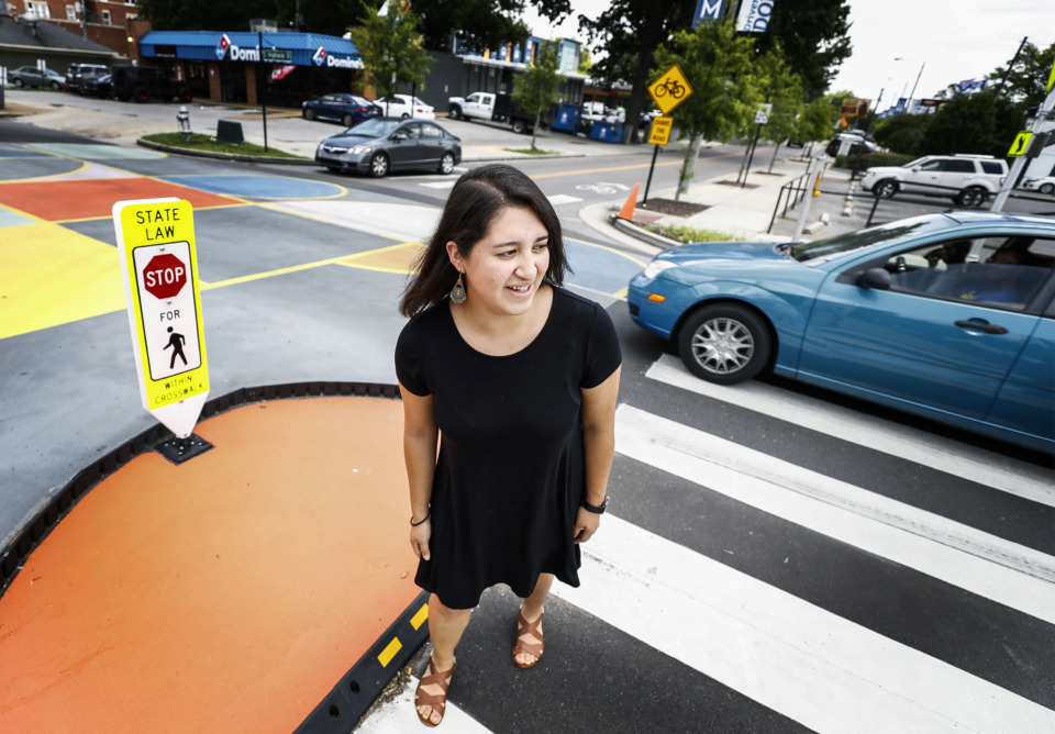 <strong>Marlen Delgado was crossing the new Highland Strip crosswalk last week when she was struck by a vehicle. She escaped with minor injuries. Police originally did not charge the driver, but updated the report a week later to charge her with failure to yield to pedestrian at a crosswalk.. </strong>(Mark Weber/Daily Memphian)