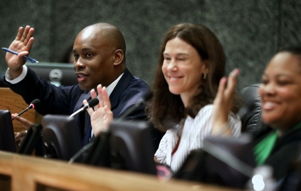 <strong>Shelby County Commissioners (from left) Van Turner, Brandon Morrison and Tami Sawyer acknowledge a group of parents representing Shelby County Schools who showed up for a Thursday, June 27, 2019 Shelby County Board of Commissioners budget meeting.</strong> (Patrick Lantrip/Daily Memphian)