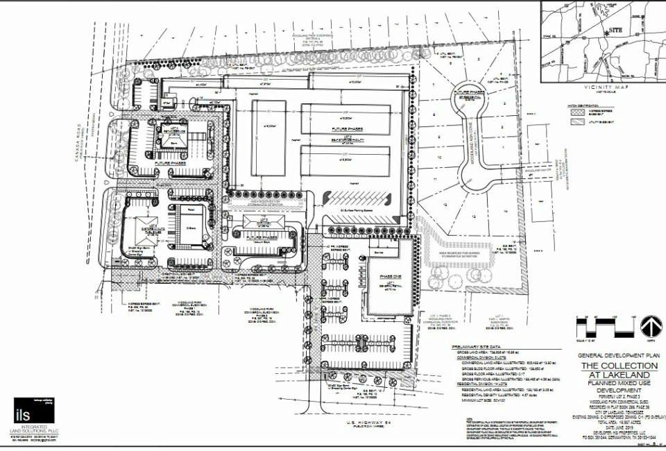 <strong>The Collection at Lakeland, a mixed-use development coming to a 17-acre tract at Canada Road and U.S. 64 in Lakeland, will include an Aldi grocery store, 15 single-family homes,&nbsp;a self-storage facility, a convenience store and gas station, a possible automated car wash, and either a bank or restaurant fronting on Canada Road. </strong>(Courtesy of Integrated Land Soultions)