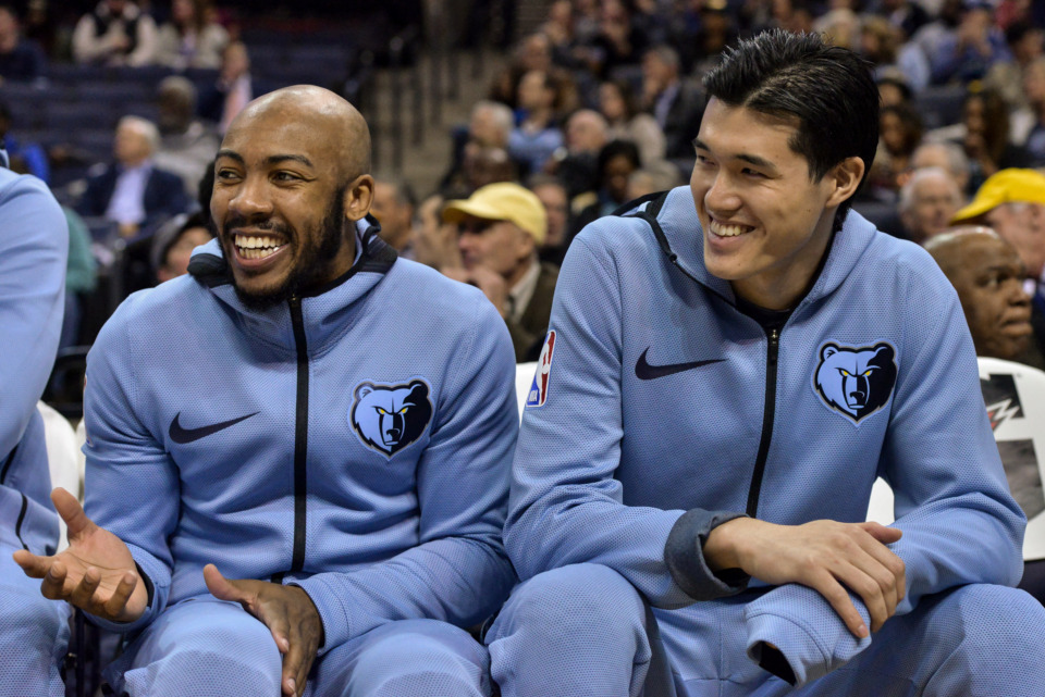 <span><strong>Memphis Grizzlies guards Jevon Carter, left, and Yuta Watanabe laugh on the bench in the first half of an NBA basketball game against the Utah Jazz Monday, Nov. 12, 2018, in Memphis, Tenn.</strong> (AP Photo/Brandon Dill)</span>
