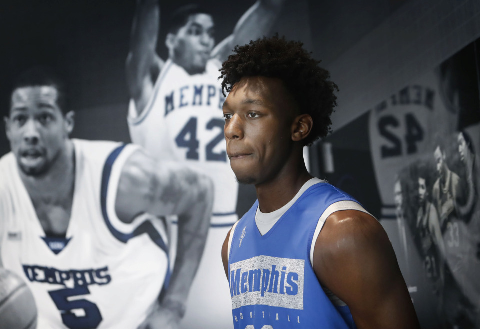 <strong>University of Memphis freshman basketball player James Wiseman talks with the media during an introductory press conference at the Laurie-Walton Family Basketball Center Tuesday, June 18, 2019.</strong> (Mark Weber/Daily Memphian)