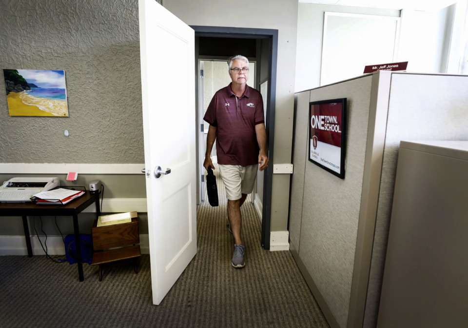 <strong>Outgoing Collierville Schools Superintendent John Aitken leaves the office for the last time Friday, June 28. At Aitken's retirement party Sunday,&nbsp;</strong><strong>Collierville Mayor Stan Joyner proclaimed Sunday John S. Aitken Day.&nbsp;</strong>(Mark Weber/Daily Memphian)