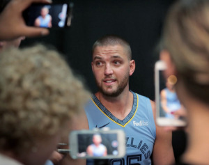 <strong>The Memphis Grizzlies have reached an agreement to deal Chandler Parsons - shown here during the 2018 media day - to the Atlanta Hawks for Miles Plumlee and Solomon Hill.&nbsp;Memphians likely will respond to this with cookouts, fireworks and parades.</strong>&nbsp;(Jim Weber/Daily Memphian)
