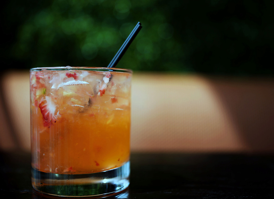 <strong>This week's Bar Talk featured cocktail is the Juniper Fusion, a gin-based drink with muddled strawberries and cucumbers.</strong> (Patrick Lantrip/Daily Memphian)