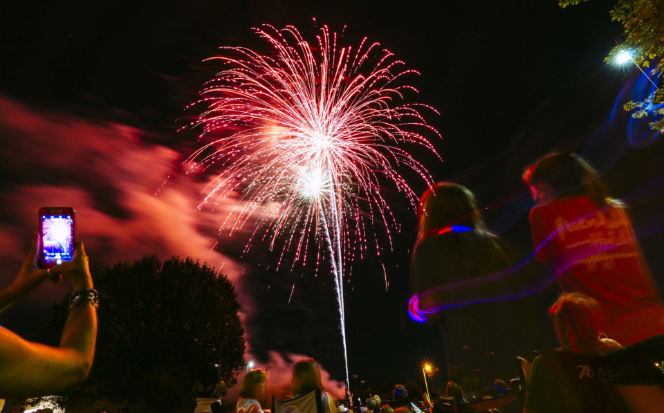 <strong>Bartlett residents enjoy the Star Spangled Fireworks Extravaganza on Wednesday, July 3, 2019, at the Bobby K. Flaherty Municipal Center. Pyro Shows coordinated the 20-minute display, which was set to patriotic music.</strong><span>&nbsp;(Ziggy Mack/Special to The Daily Memphian)</span>