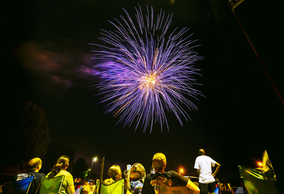 <strong>Colorful fireworks burst in the night sky at Bartlett&rsquo;s annual Star Spangled Fireworks Extravaganza on Wednesday, July 3, 2019, at the Bobby K. Flaherty Municipal Center. Local Fourth of July celebrations continue Thursday with events in Memphis, Germantown and Millington.&nbsp;</strong>(Ziggy Mack/Special to The Daily Memphian)