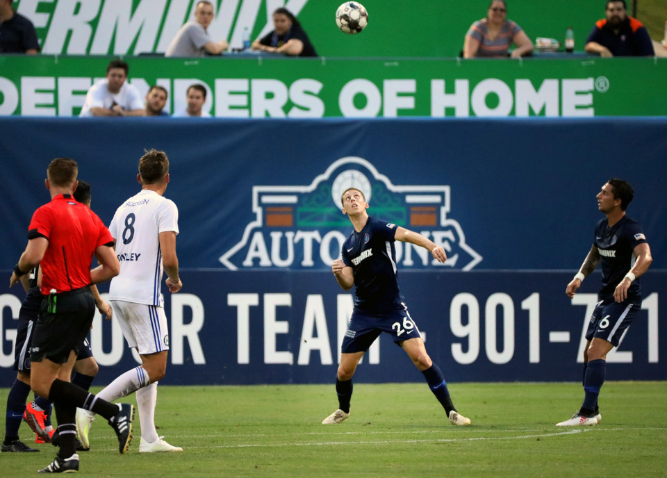 <strong>Memphis 901 FC defender Josh Morton (26) eyes up a header during a 4-1 win over Hartford at AutoZone Park.</strong> (Patrick Lantrip/Daily Memphian)