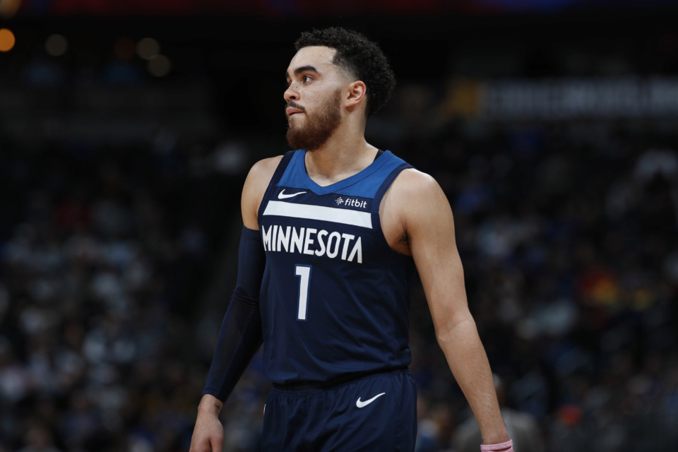 "<p class=""regdt""><strong>Minnesota Timberwolves guard Tyus Jones (1) in the second half of an NBA basketball game Wednesday, April 10, 2019, in Denver. The Nuggets won 99-95.</strong> (AP Photo/David Zalubowski)"