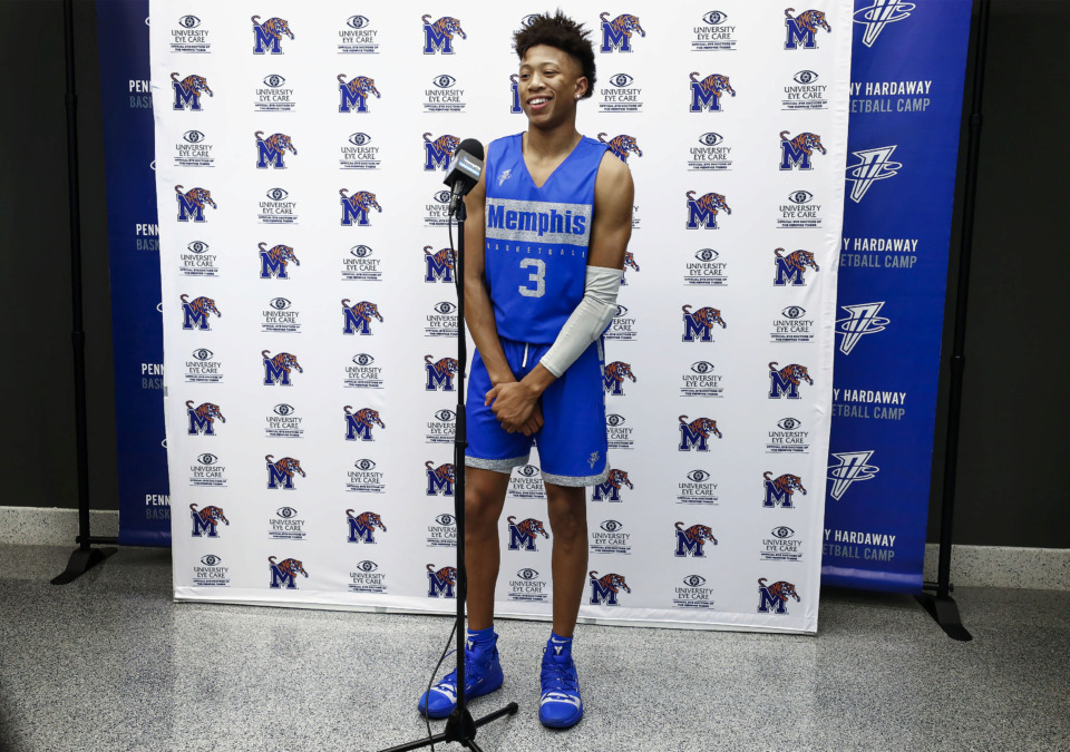 <strong>University of Memphis freshman basketball player Boogie Ellis talks with the media during an introductory press conference at the Laurie-Walton Family Basketball Center Tuesday, June 18, 2019.</strong> (Mark Weber/Daily Memphian)