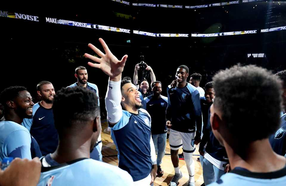 Grizzlies guard, Dillon Brooks, celebrates with teammates as he enters the FedEx Forum for the first pre-season game of the year against the Atlanta Hawks. The Grizzlies beat the Hawks 110-120 in the first pre-season game of the year. (Houston Cofield/Daily Memphian)